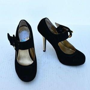 Madeline Girl Black Suede Mary Jane Heels